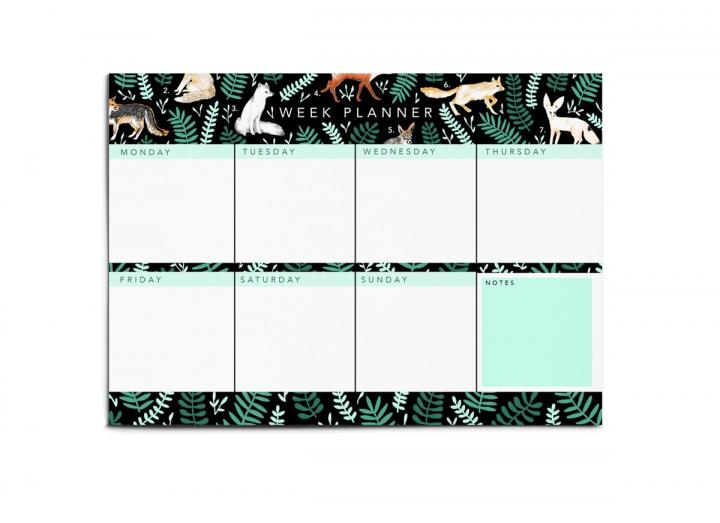 A4 weekly planner pad foxes