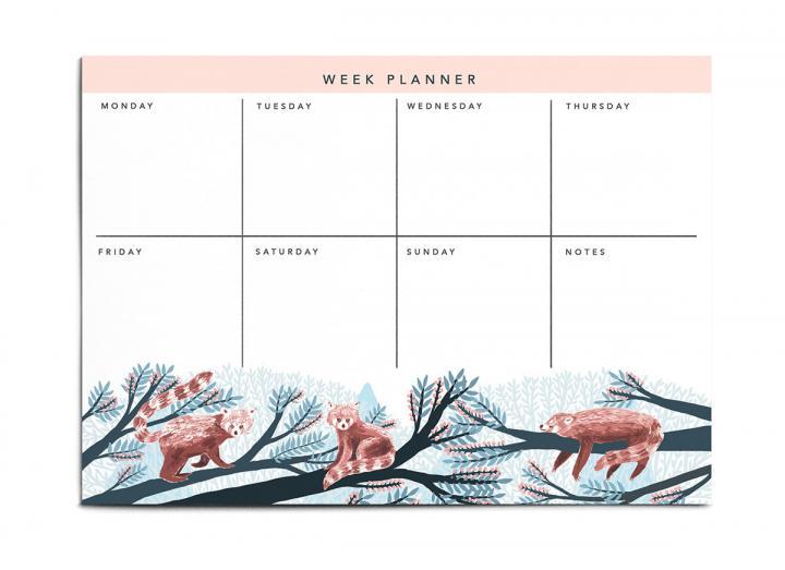 A4 weekly planner pad red panda