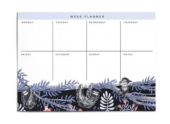 A4 weekly planner pad sloths