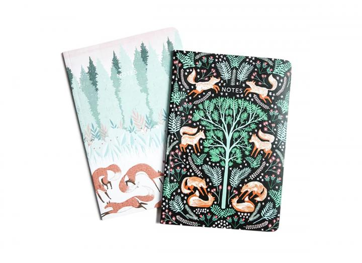 A6 Two pack notebook folk foxes