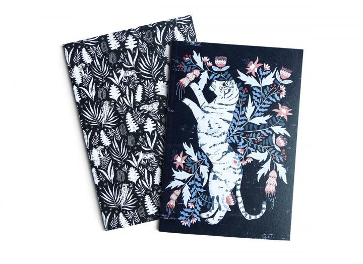 A6 two pack notebook tigers