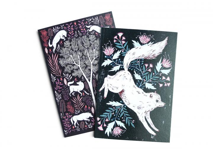 A6 two pack notebook wolves