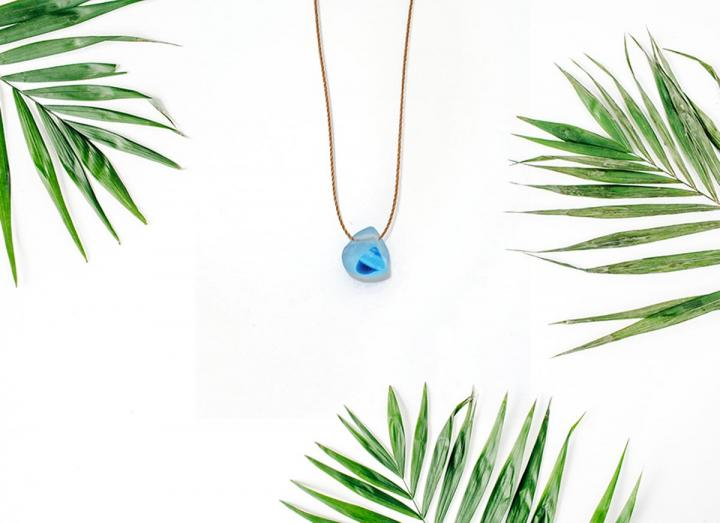 Aqua mermaid seaglass necklace