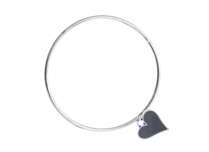 Silver bangle with grey heart charm