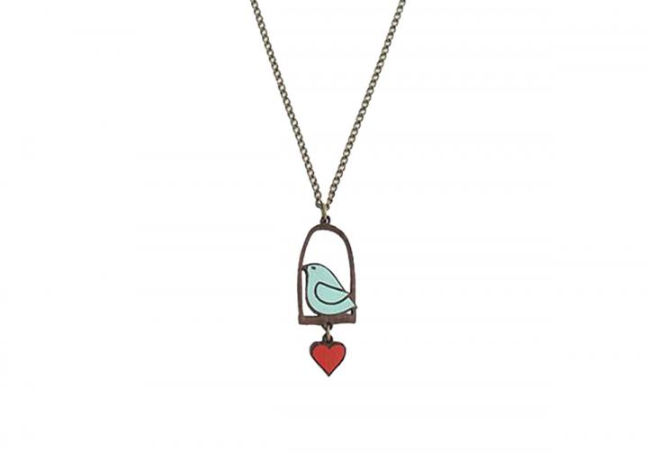 Blue bird & love necklace