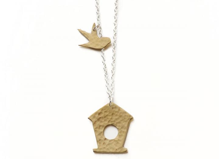 Brass bird box necklace