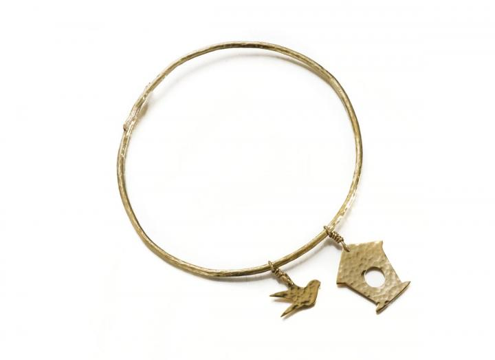 Brass bird box and swallow bangle