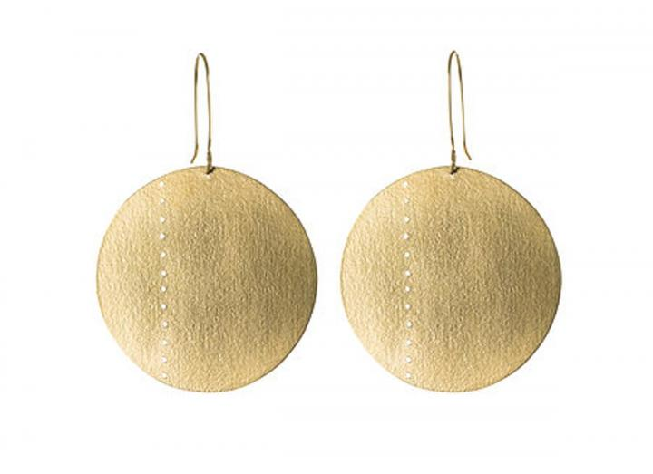 Brass circle statement earrings
