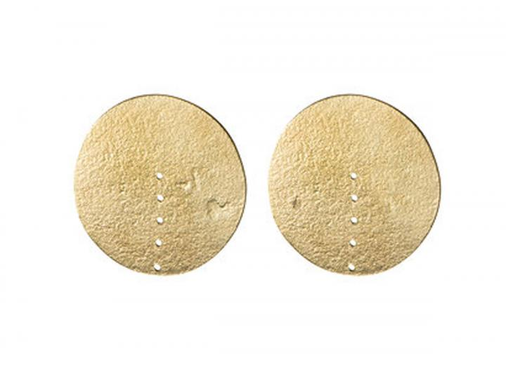 Brass circle stud earrings