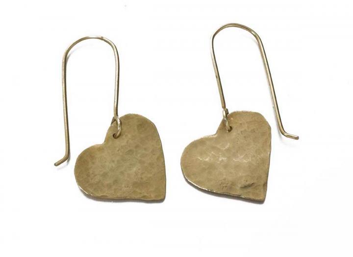 Brass earrings heart