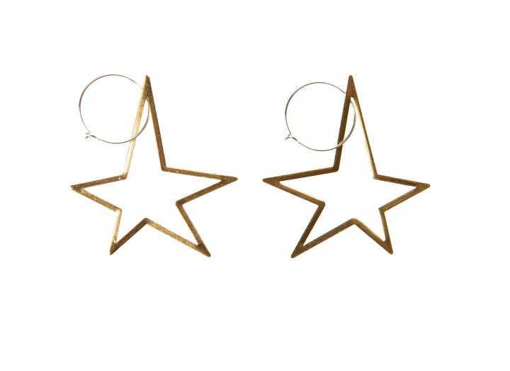 Brass open star earrings