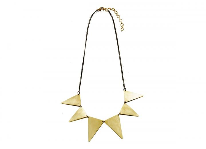 Brass triangle collar necklace