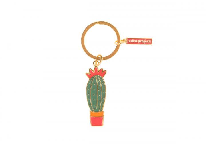 Cactus enamel keyring