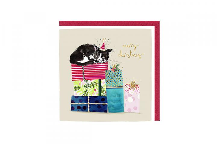 Cat on presents card