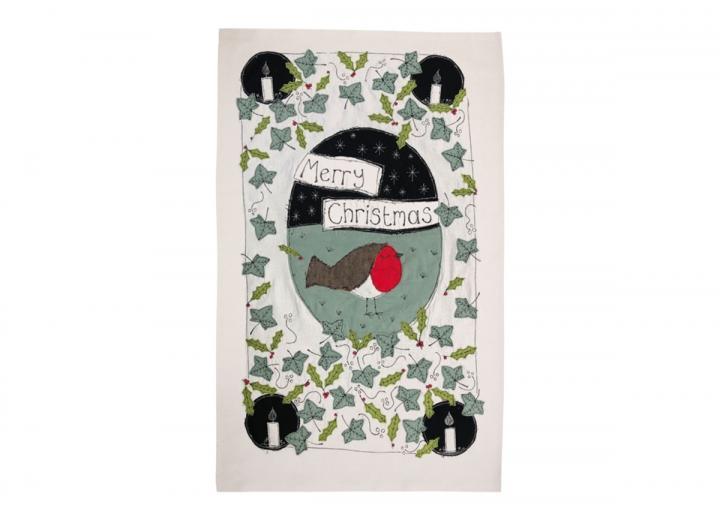 Christmas robin tea towel