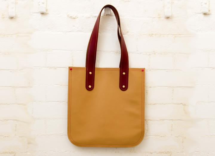 Recycled leather tote bag