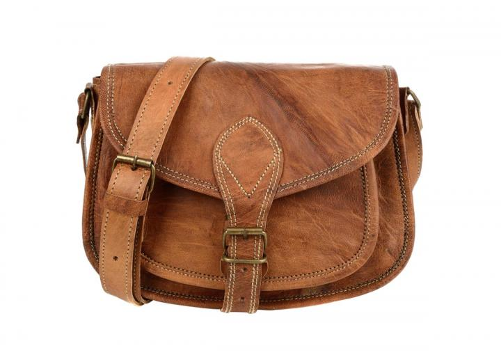 Curved Leather Saddle Bag