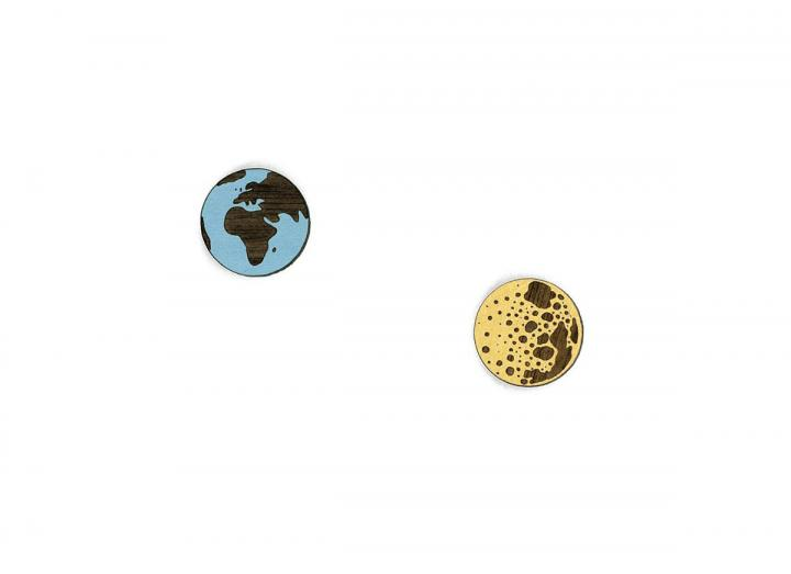 Earth and moon studs