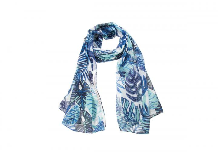 Eden tropical leaves recycled polyester scarf