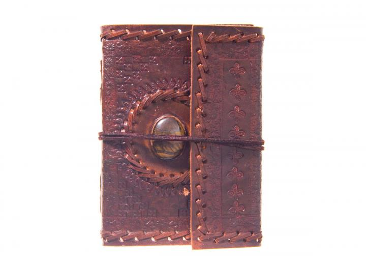 Embossed leather journal with stone