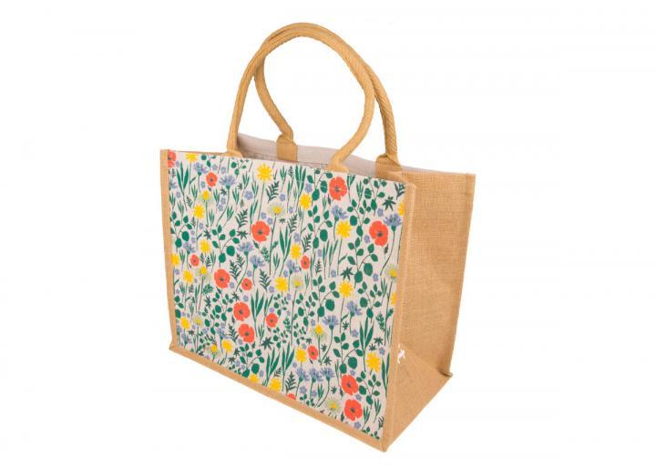 Extra large jute bag wild flowers