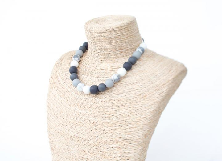 Grey and white ball bead necklace