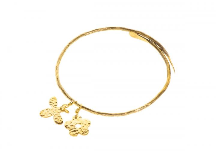 Hammered brass bee bangle
