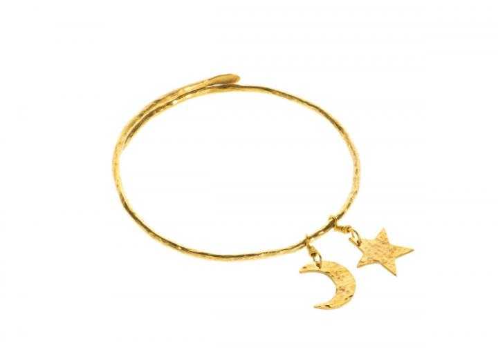 Hammered brass star bangle