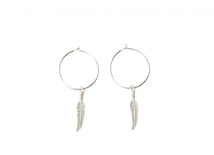Hoop charm earrings feather