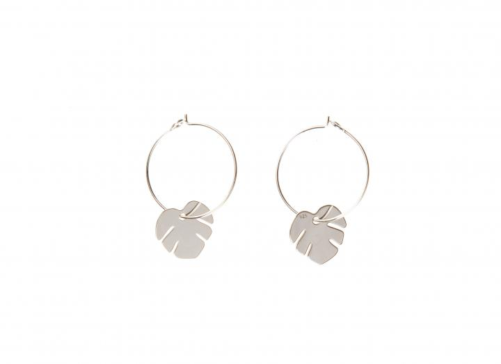 Hoop charm earrings monstera