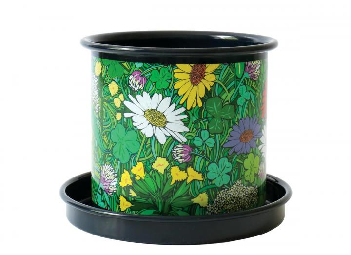 Indoor mini plant pot with floral design