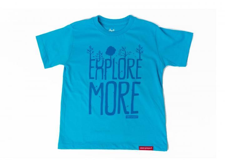Kids explore more print t-shirt scuba blue