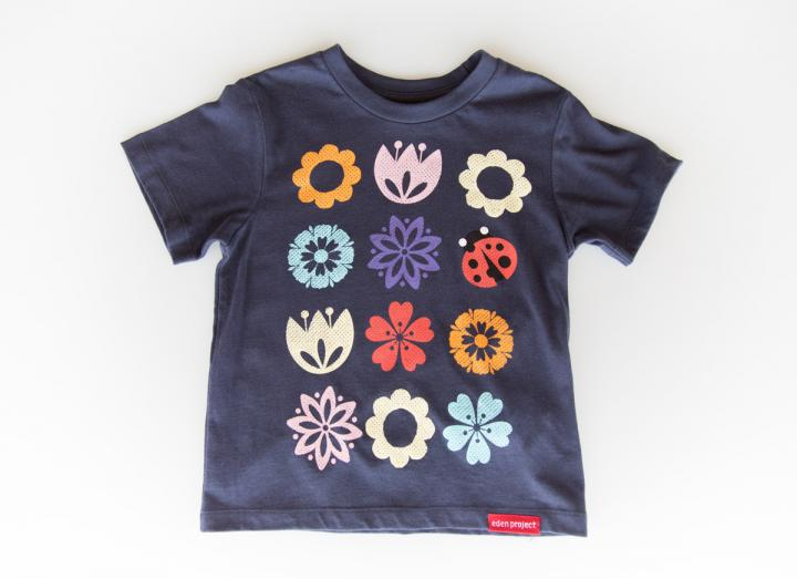 Kids floral and ladybird repeat t-shirt navy