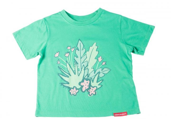 Kids Floral Print Seagreen T-Shirt