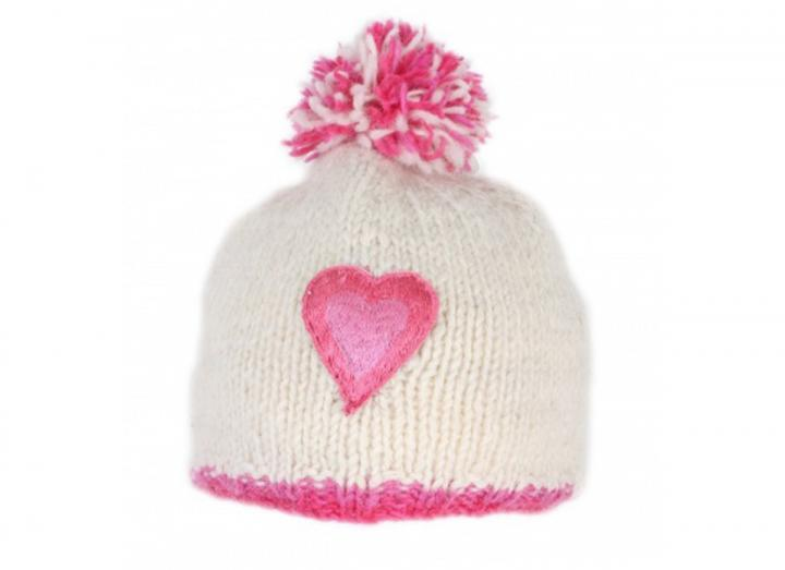 Kids heart bobble beanie