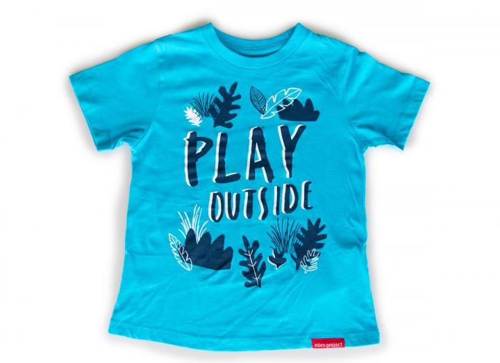 Kids play outside t-shirt blue