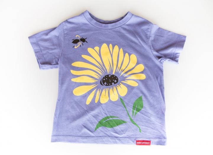 Kids bee and flower t-shirt mauve