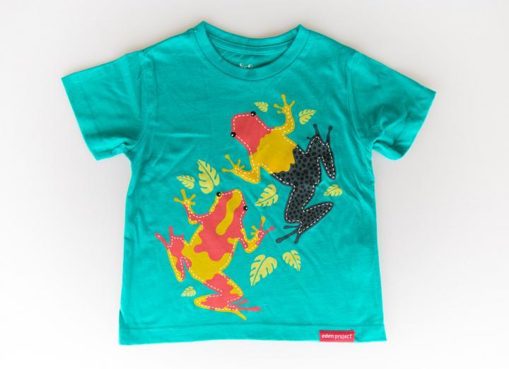 Kids tree frog t-shirt sea green