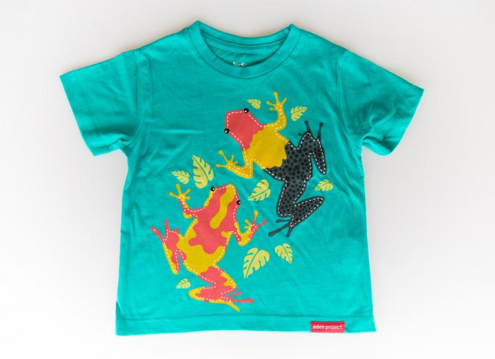 Kids tree frog t-shirt sea green