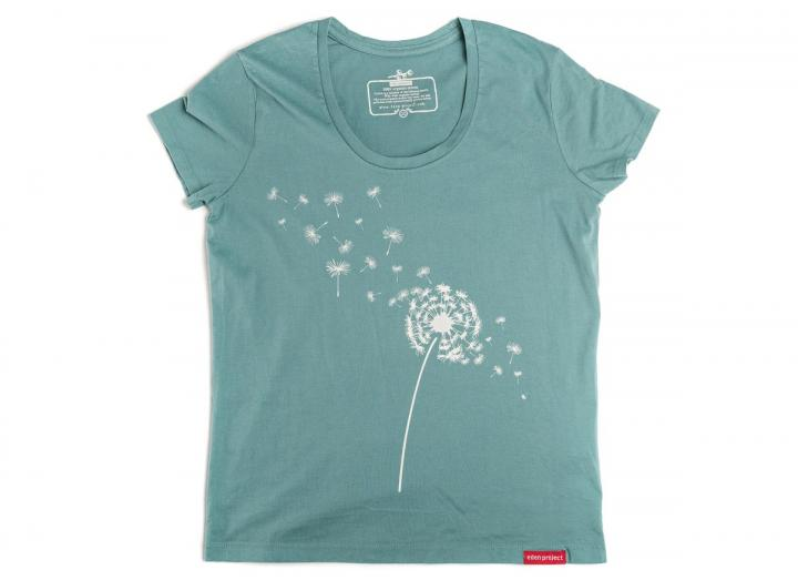 Ladies dandelion scoop neck t-shirt teal