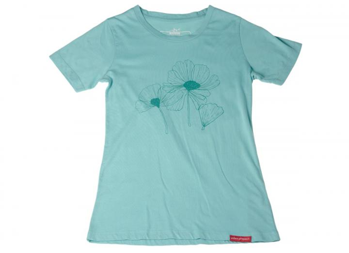 Ladies floral t-shirt aqua