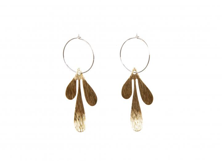Brass earrings teardrop
