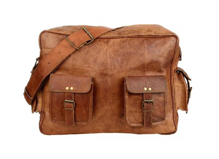 Large leather overnight bag