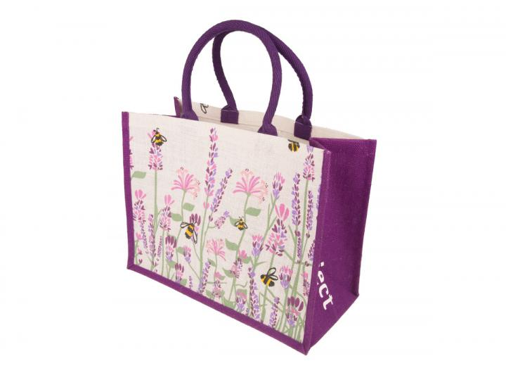 Large jute bag lavender and bee