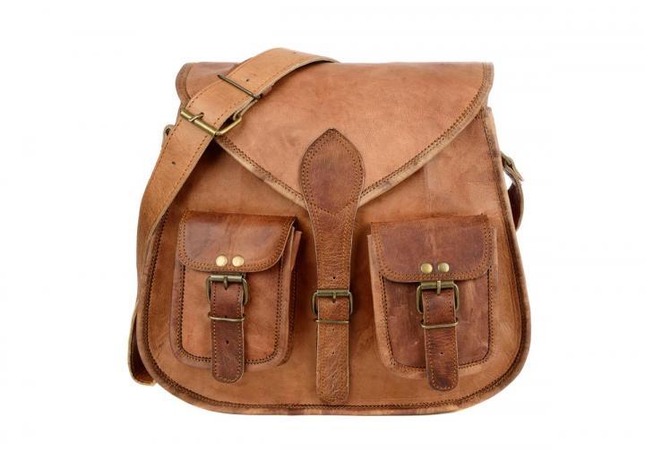 Leather satchel saddle bag