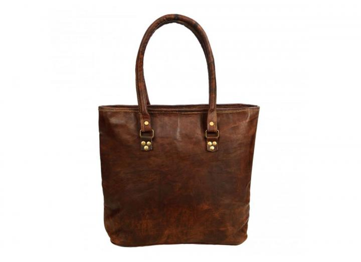 Leather shopping tote bag