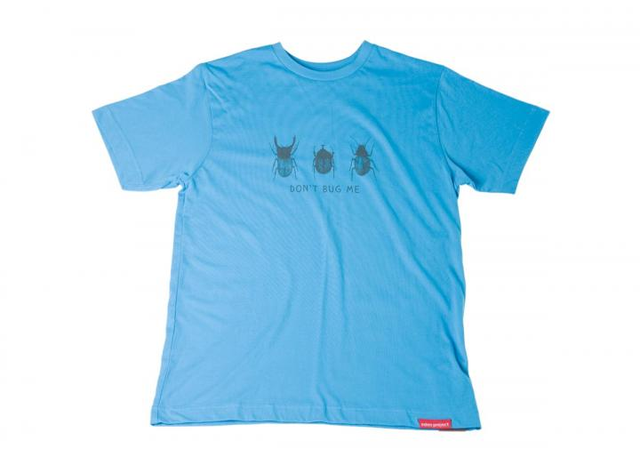 Mens bug print t-shirt bright blue