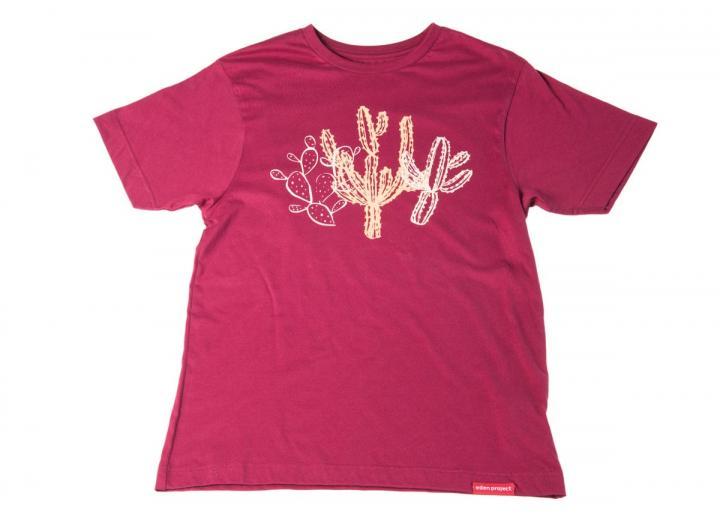Mens cactus print t-shirt burgundy