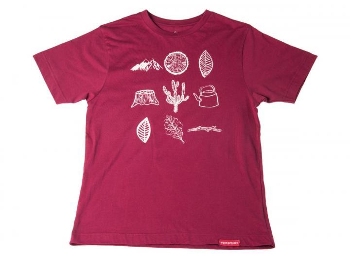 Mens explore print t-shirt burgundy