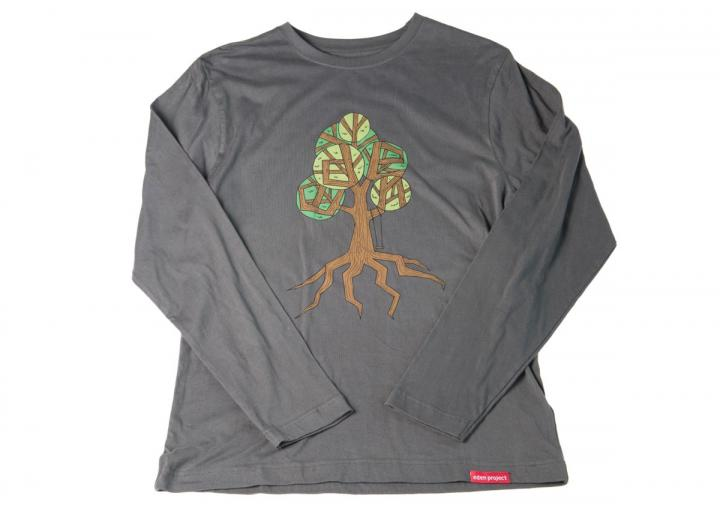 Mens long sleeve tree print t-shirt grey